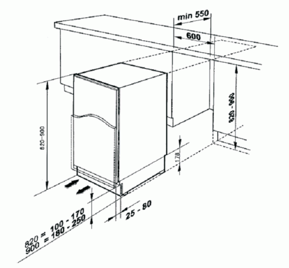 Baumatic BRUI119 Built-Under Fridge with Ice Box