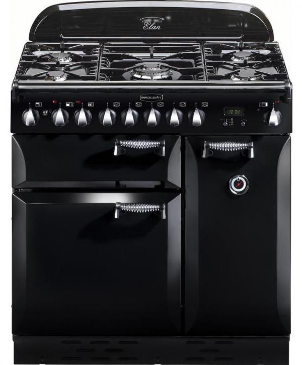 Rangemaster ELAS90DFFBL/ 72900 Elan 90cm Black Dual Fuel Range Cooker (EX DISPLAY)