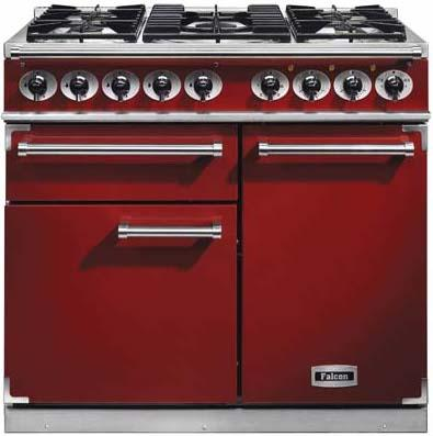 Falcon F1000DXDFRD/NM 98640 1000 Deluxe Dual Fuel Cherry Red Range Cooker
