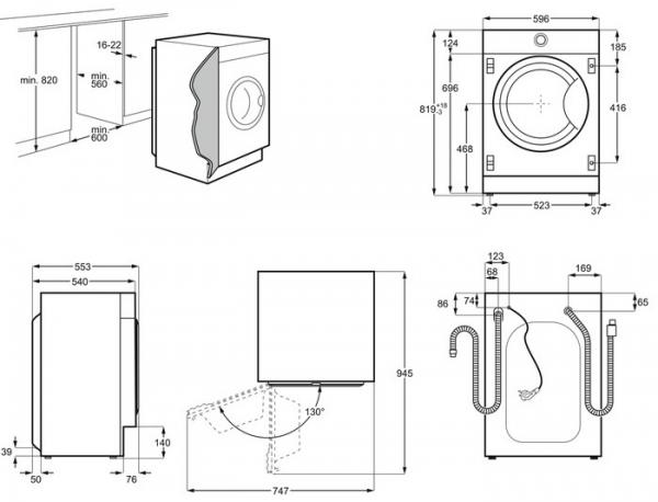 AEG L7FC8432BI Integrated Washing Machine
