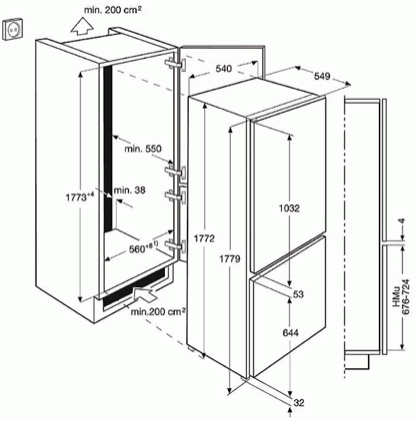 AEG SCB61811LS Integrated 70/30 Fridge Freezer