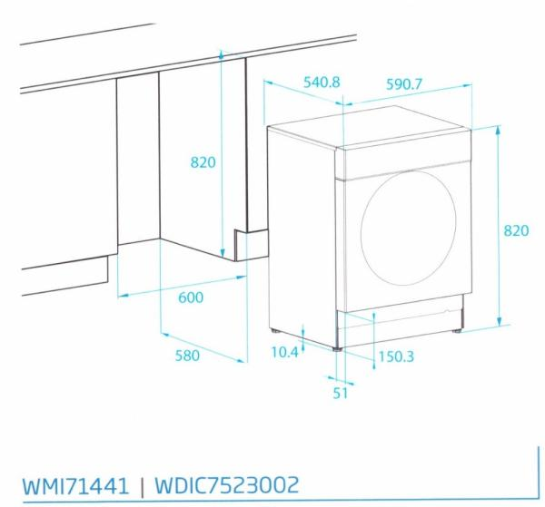 Beko WDIC7523002 Built-In Washer Dryer