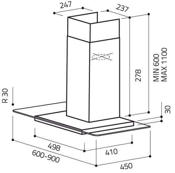 Elica Flat Glass IX/A/90 90cm Cooker Hood (EX DISPLAY)