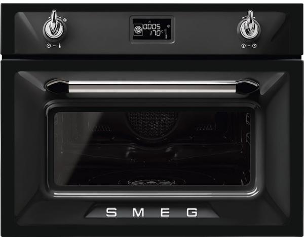 Smeg SF4920VCN1 45cm Built-In Black compact steam combination oven