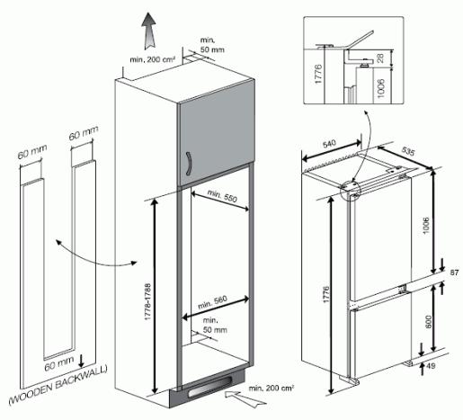 Blomberg Knm4551i Integrated 70 30 Fridge Freezer