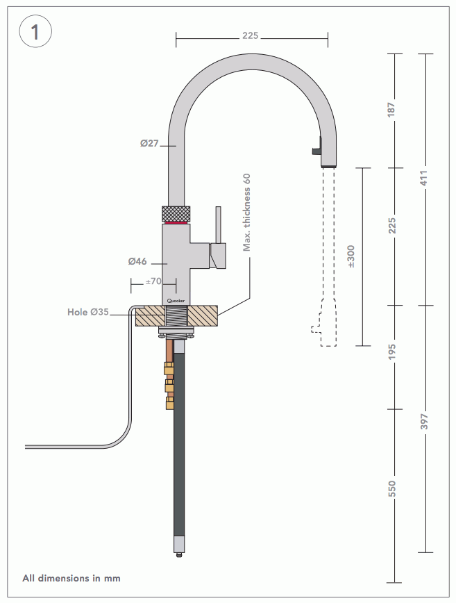quooker 2 2xchr combi 2 2 flex chrome boiling water tap. Black Bedroom Furniture Sets. Home Design Ideas