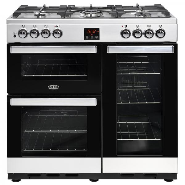 Belling 444444070 Stainless Steel Cookcentre 90DFT Dual Fuel Range Cooker