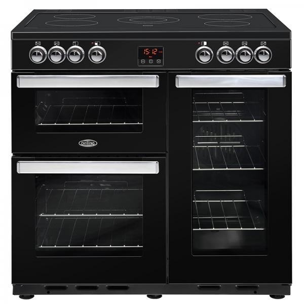 Belling 444444074 Black Cookcentre 90E Electric Range Cooker