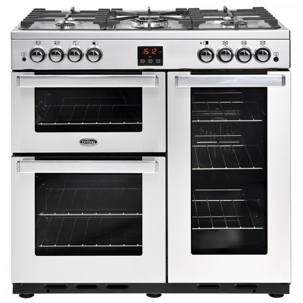 Belling 444444075 Professional Stainless Steel Cookcentre 90G Gas Range Cooker