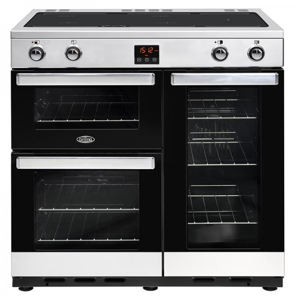 Belling 444444079 Stainless Steel Cookcentre 90EI Electrical Induction Range Cooker