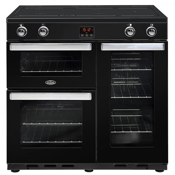 Belling 444444080 Black Cookcentre 90EI Electrical Induction Range Cooker
