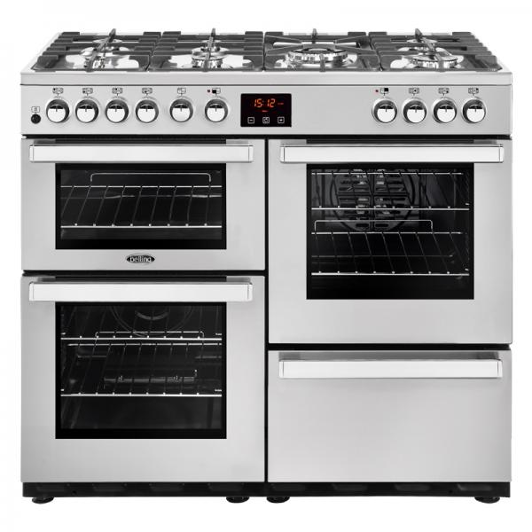 Belling 444444081 100DFT Professional Stainless Steel Cookcentre Dual Fuel Range Cooker