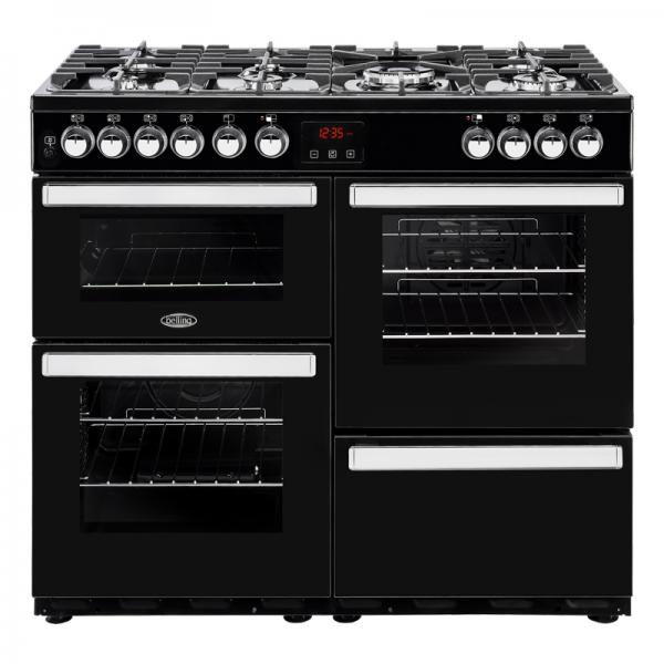Belling 444444083 100DFT Black Cookcentre Dual Fuel Range Cooker