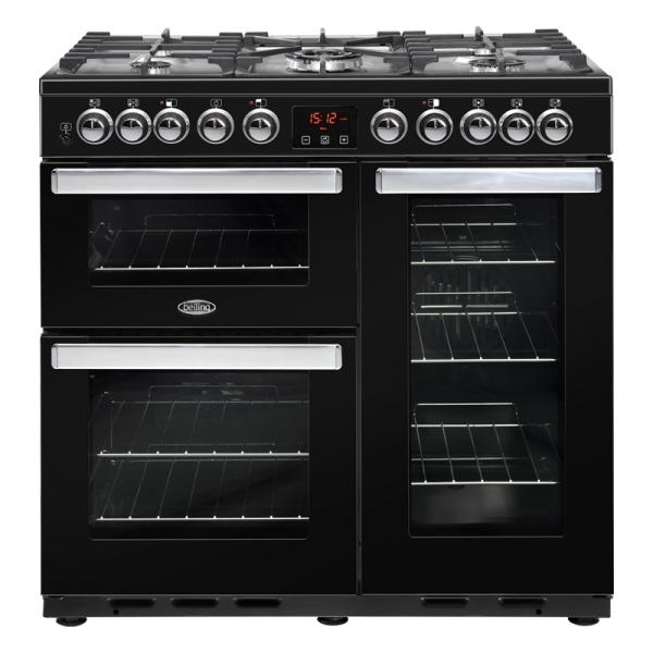 Belling 444444105 Black Cookcentre 90DFT Deluxe Dual Fuel Range Cooker