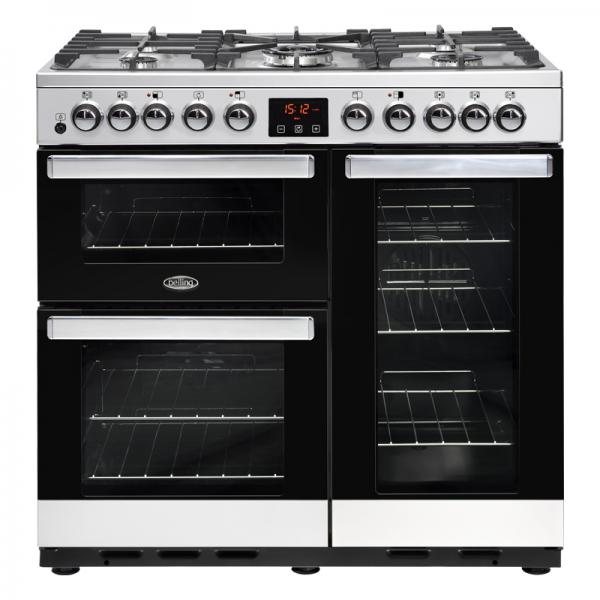 Belling 444444106 Stainless Steel Cookcentre 90DFT Deluxe Dual Fuel Range Cooker