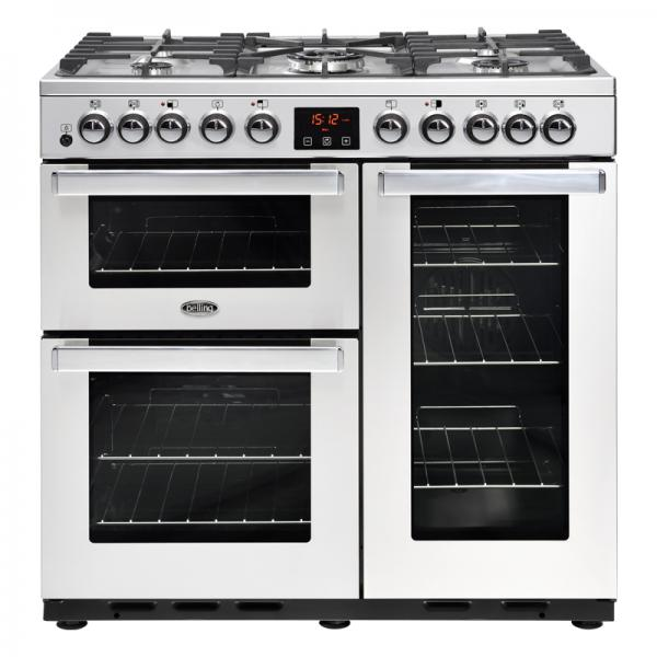 Belling 444444107 90DFT Professional Cookcentre Deluxe Stainless Steel Dual Fuel Range Cooker