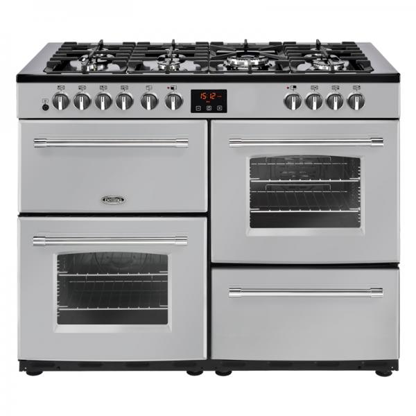 Belling 444444146 110DF Silver Farmhouse Dual Fuel Range Cooker