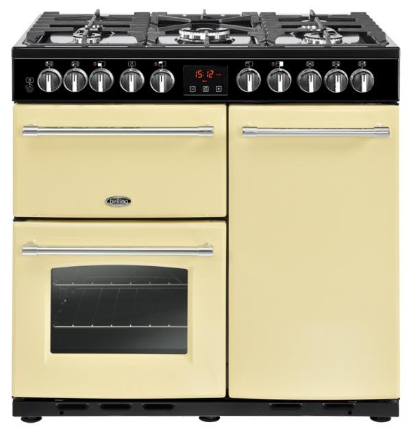 Belling 444444159 90DFT Farmhouse Deluxe 90cm Cream Dual Fuel Range Cooker
