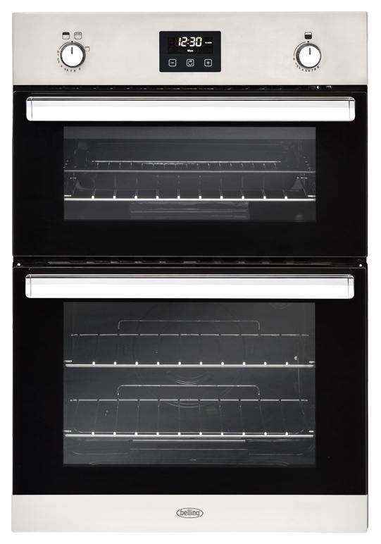 Belling BI902G 444444795 90cm Stainless Steel Built-In Gas Double Oven