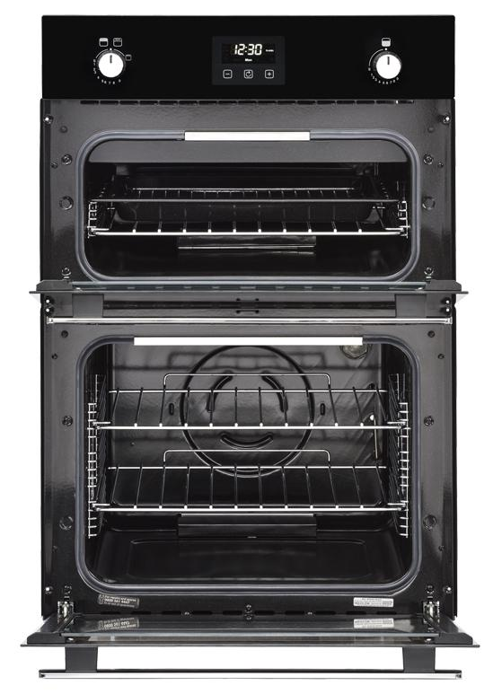 Belling BI902G 444444796 90cm Black Built-In Gas Double Oven