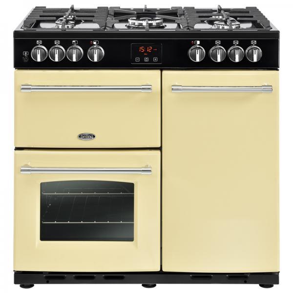 Belling 444444123 90DFT Cream Farmhouse Dual Fuel Range Cooker