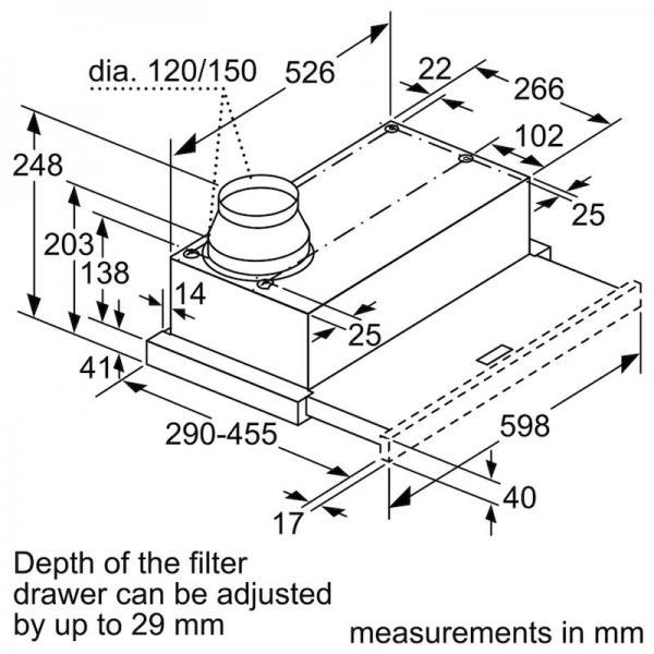 Bosch DFM063W55B 60cm Telescopic Hood