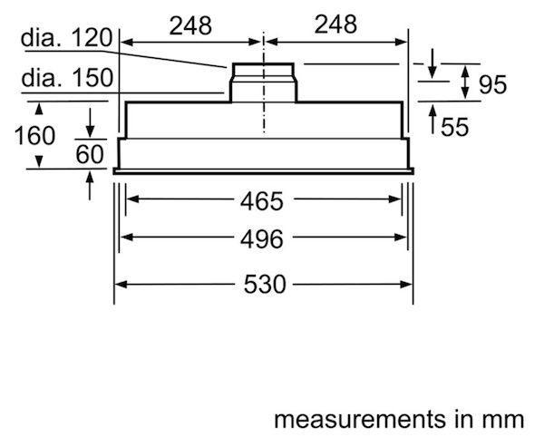 Bosch DHL555BLGB 50cm Canopy Hood