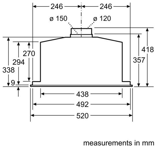 Bosch DHL575CGB 52cm Canopy Hood