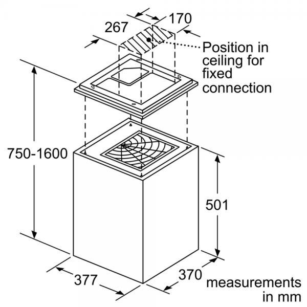 Bosch DII31RV60 37cm Island Cube Hood