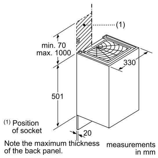 Bosch DWI37RU60B 33cm Wall Cube Hood