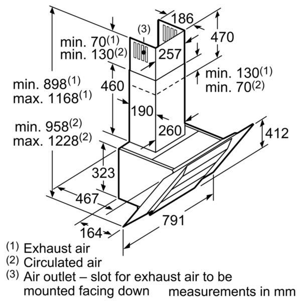 Bosch DWK87BM60B 80cm Angled Chimney Hood