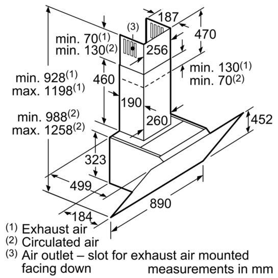 Bosch DWK97JQ60B 90cm Angled Chimney Hood