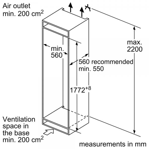 Bosch KIN86NSF0G Integrated 70/30 Frost Free Fridge Freezer