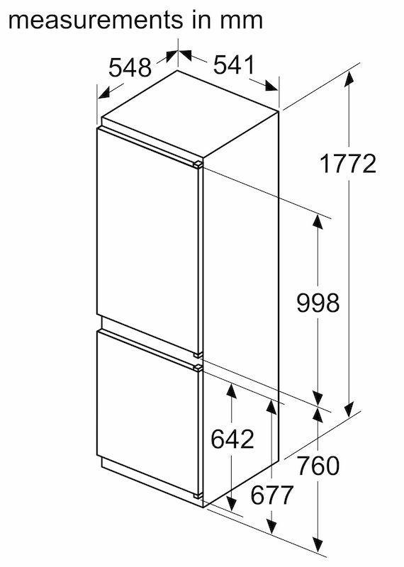 Bosch KIV86VSE0G Integrated 70/30 LowFrost Fridge Freezer