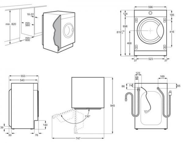 AEG L7WE7631BI Integrated Washer Dryer