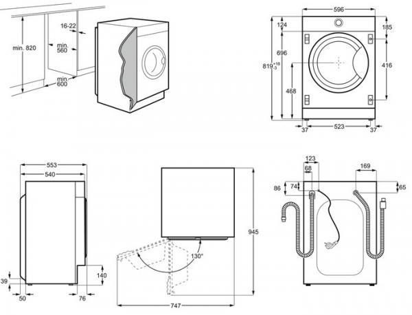 AEG L8FC8432BI Integrated Washing Machine