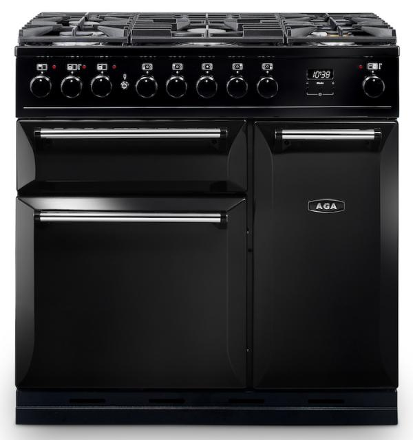 AGA MDX90DFBLK Masterchef Deluxe 90cm Black Dual Fuel Range Cooker
