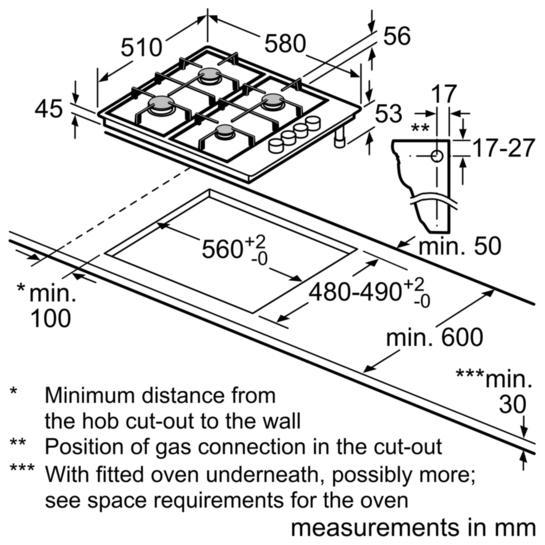 Bosch PBH6B5B60 60cm Gas Hob