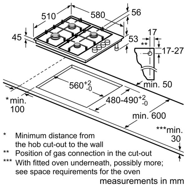 Bosch PBP6B5B60 60cm Gas Hob