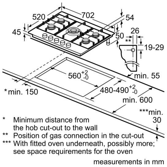 Bosch PCQ715B90E 70cm Gas Hob