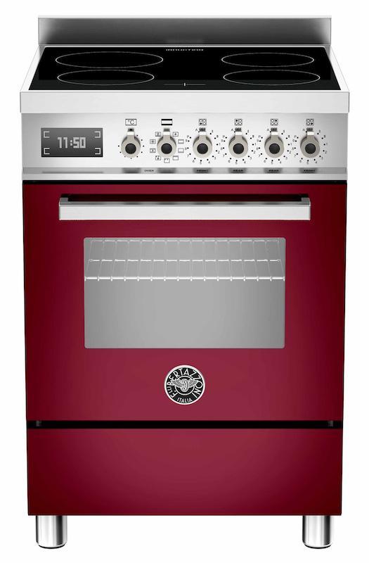 Bertazzoni PRO60-4I-MFE-S-VI-T Professional 60cm Burgundy Induction Cooker