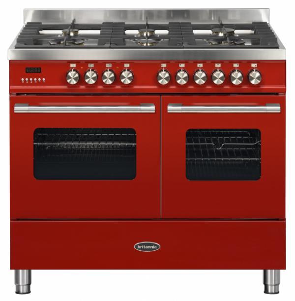Britannia RC-10TG-DE-RED 544440026 100cm Twin Red Dual Fuel Range Cooker