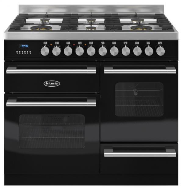 Britannia RC-10XGG-DE-K 544440232 Delphi XG 100cm Black Dual Fuel Range Cooker