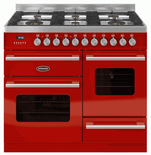 Britannia RC-10XGG-DE-RED 544440267 Delphi XG 100cm Red Dual Fuel Range Cooker
