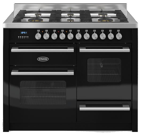 Britannia RC-11XGG-DE-K 544440123 Delphi 110cm XG Black Dual Fuel Range Cooker