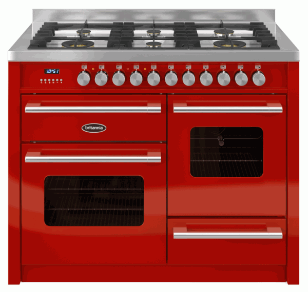 Britannia RC-11XGG-DE-RED 544440324 Delphi 110cm XG Red Dual Fuel Range Cooker