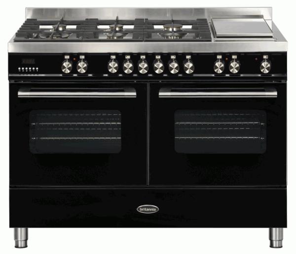 Britannia RC-12TG-DE-K 544440332 Delphi 120cm Twin Black Dual Fuel Range Cooker