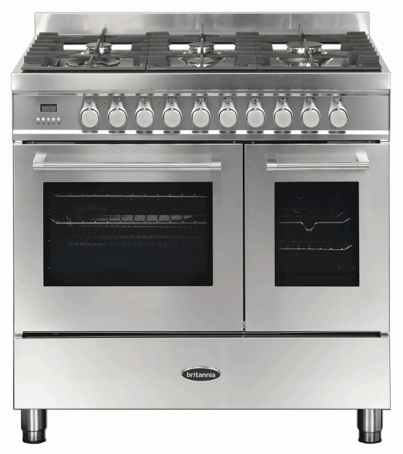 Britannia RC-9TG-QL-S 544440098 Q Line 90cm Twin Stainless Steel Dual Fuel Range Cooker