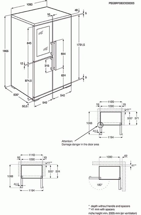 AEG RXE75911TM Side by Side Fridge Freezer