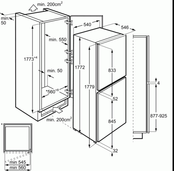 AEG SCB61812LS Integrated 50/50 Fridge Freezer